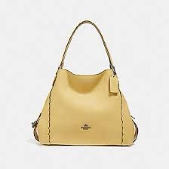 COACH Edie 31 Pebble Leather Yellow Handbag